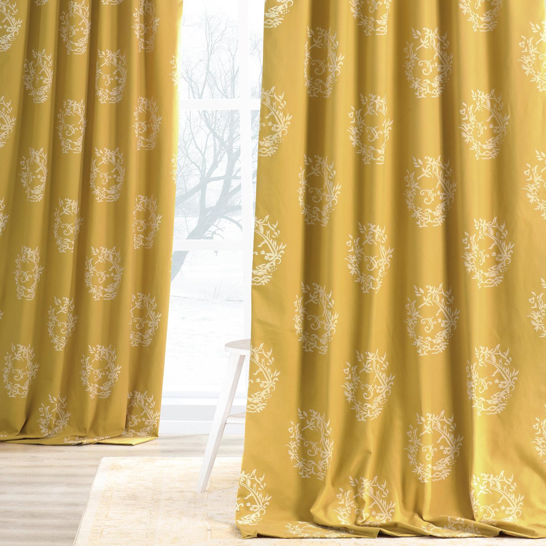 Isles Mustard Printed Cotton Curtain