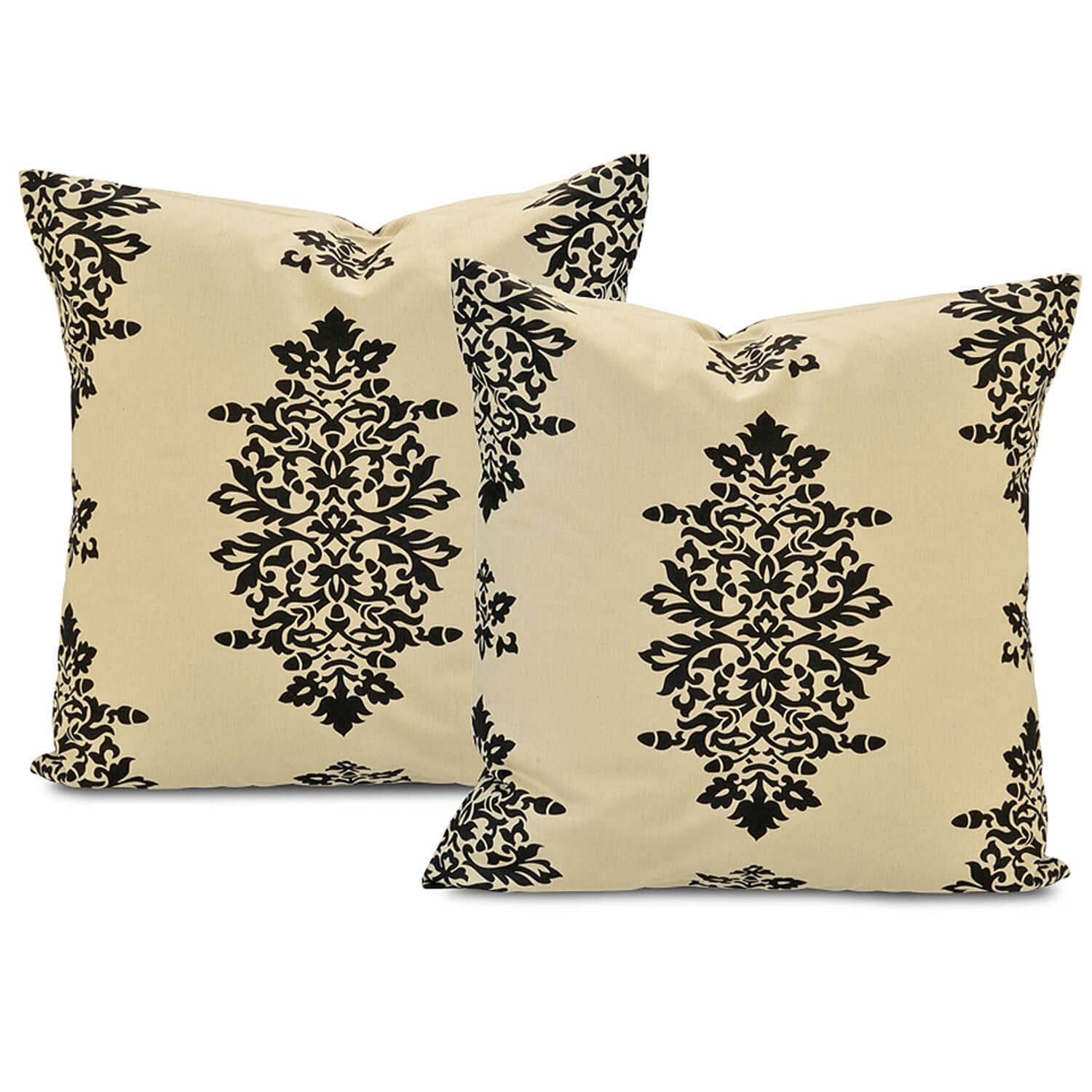 Jakarta Khaki Printed Cotton Cushion Cover (Pair)
