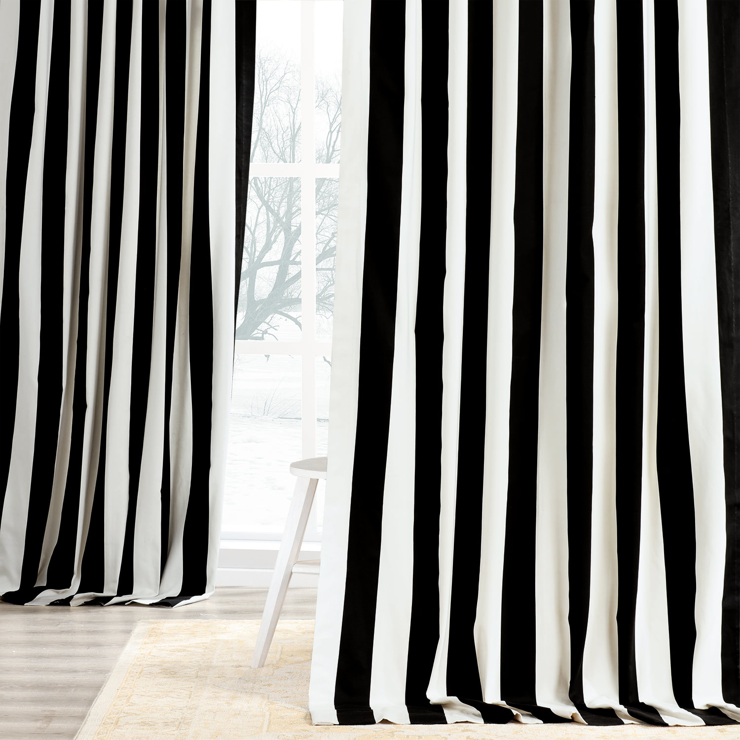 Cabana Black Printed Cotton Curtain