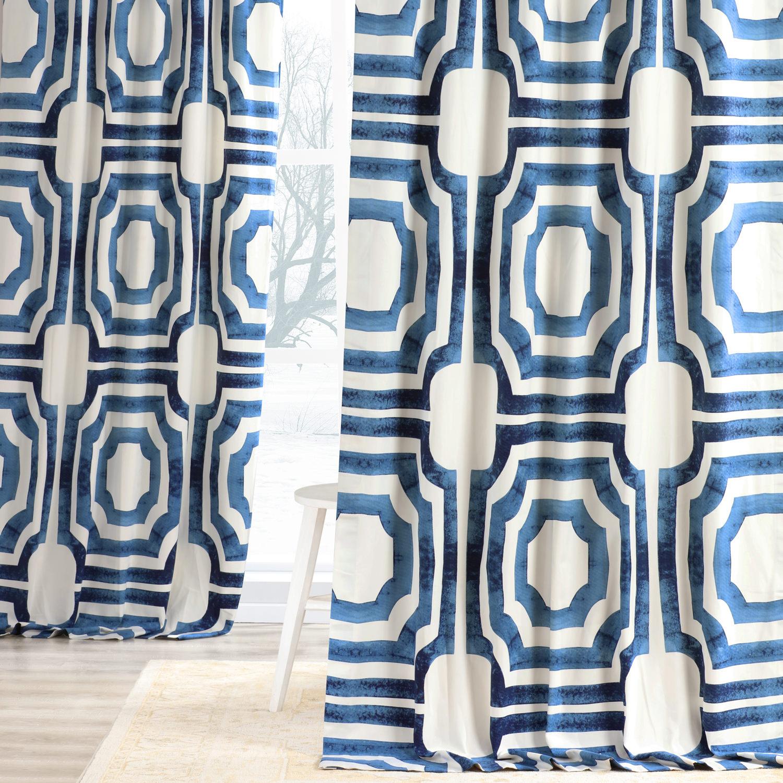 Mecca Blue Printed Cotton Curtain