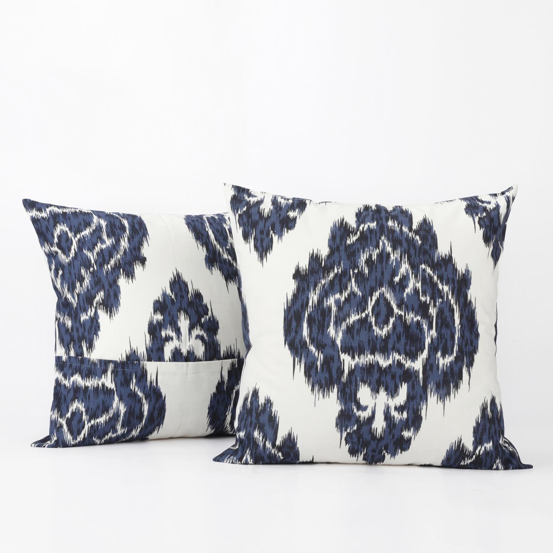 Ikat Blue Printed Cotton Cushion Cover (Pair)