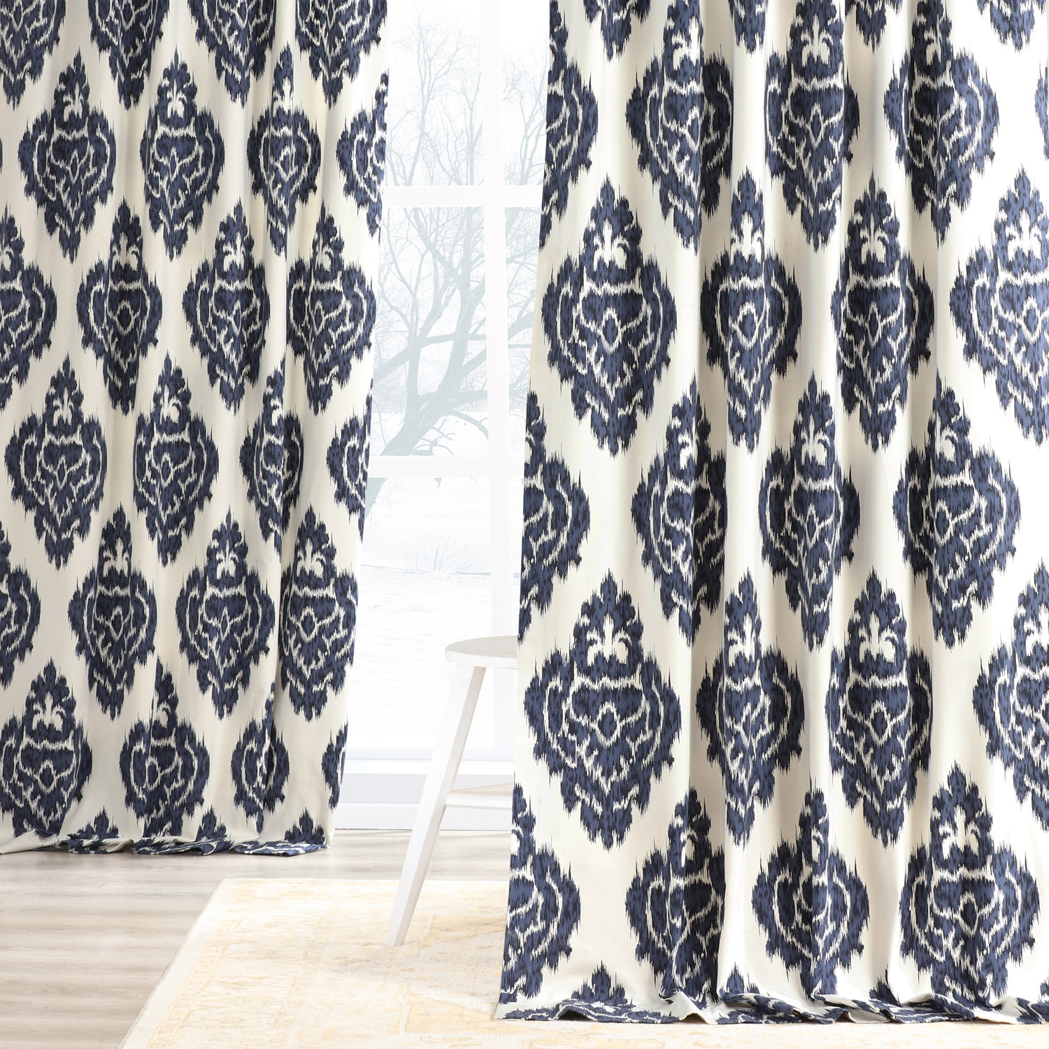 Ikat Blue Printed Cotton Curtain