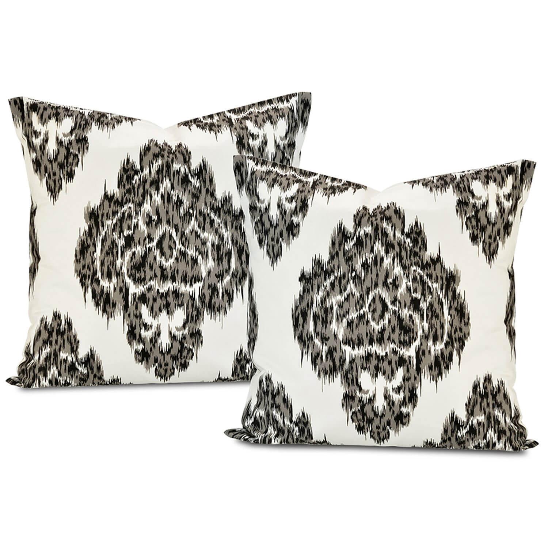 Ikat Black Printed Cotton Cushion Cover (Pair)