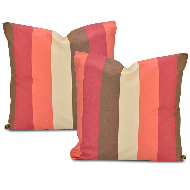 Picante stripe Printed Cotton Cushion Cover (Pair)