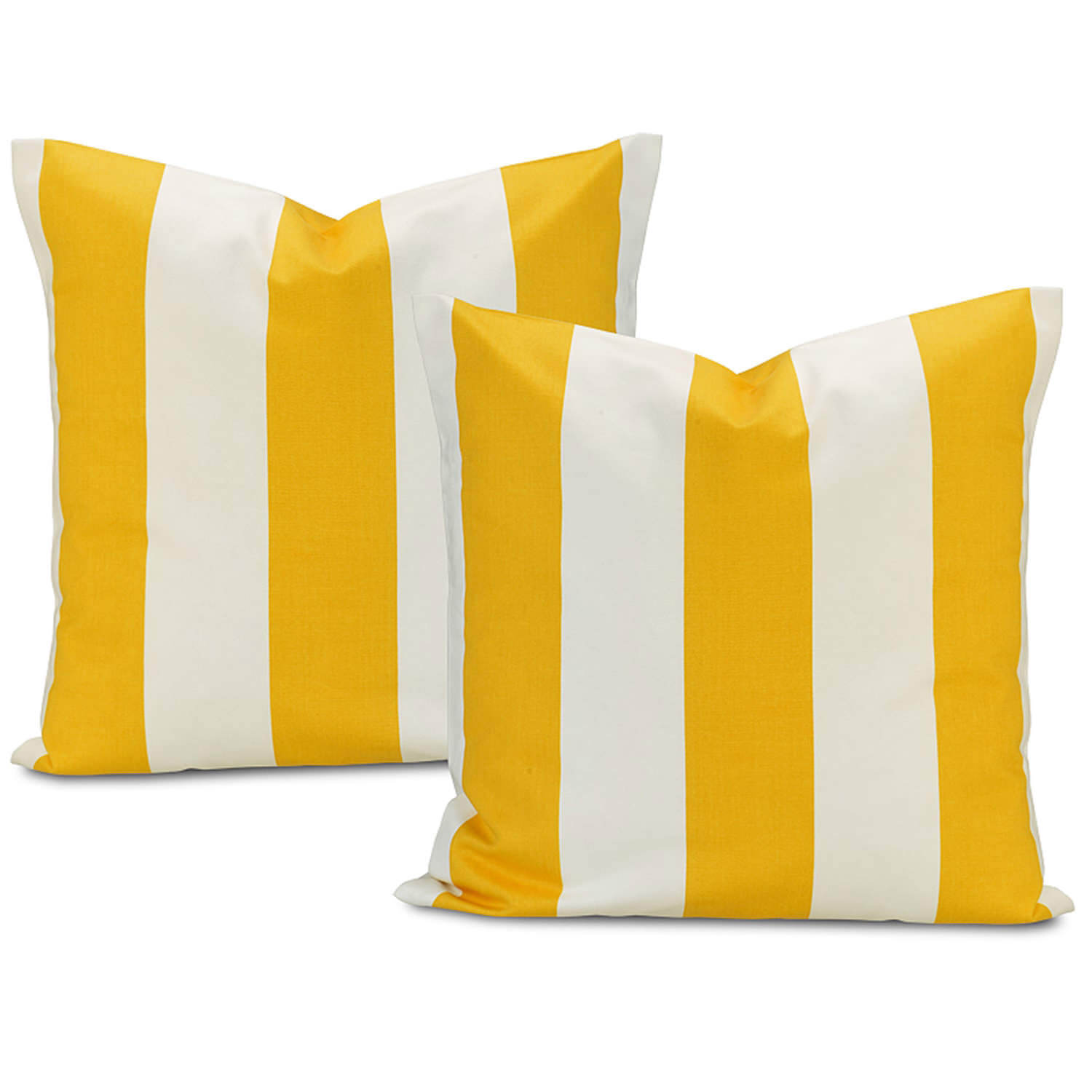 Cabana Yellow Printed Cotton Cushion Cover (Pair)