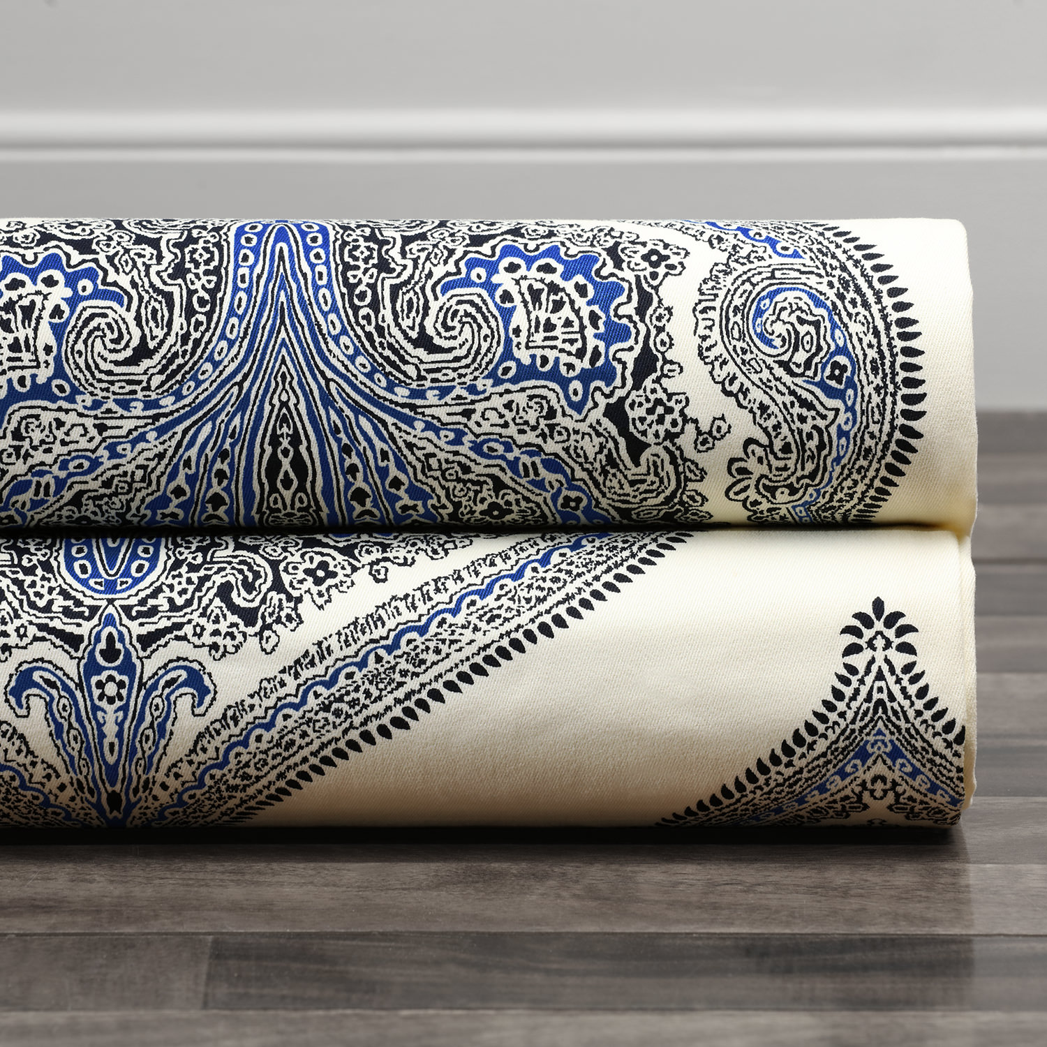 Arabesque Blue Printed Cotton Twill Swatch