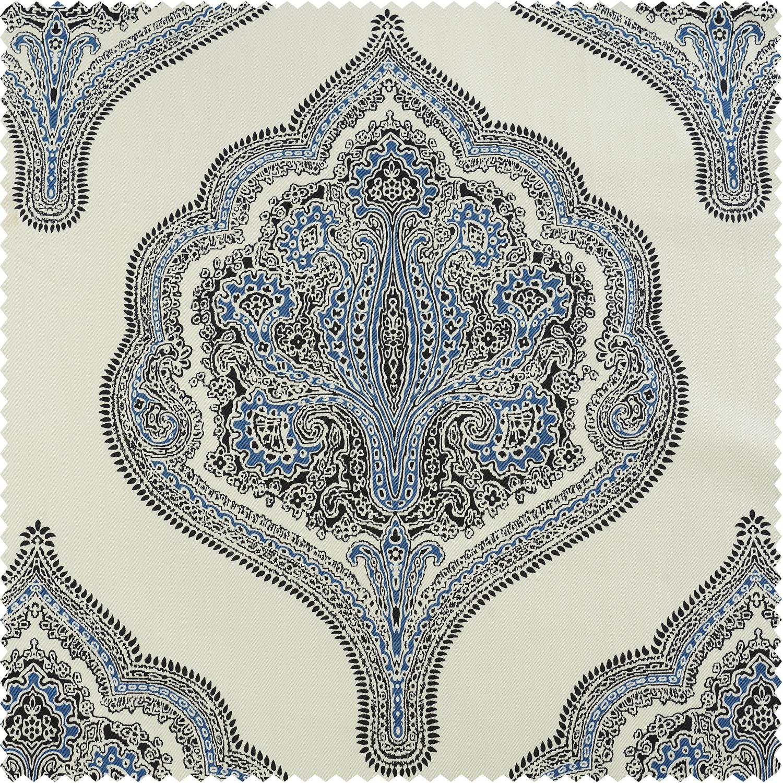 Arabesque Blue Printed Cotton Twill Swatch