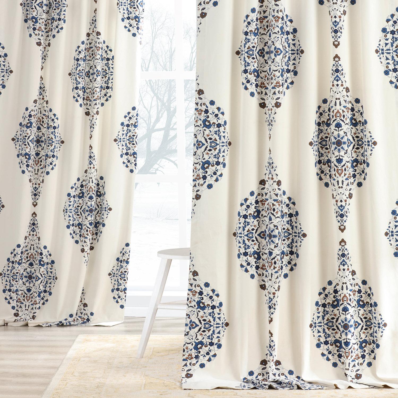 Kerala Blue Printed Cotton Twill Curtain