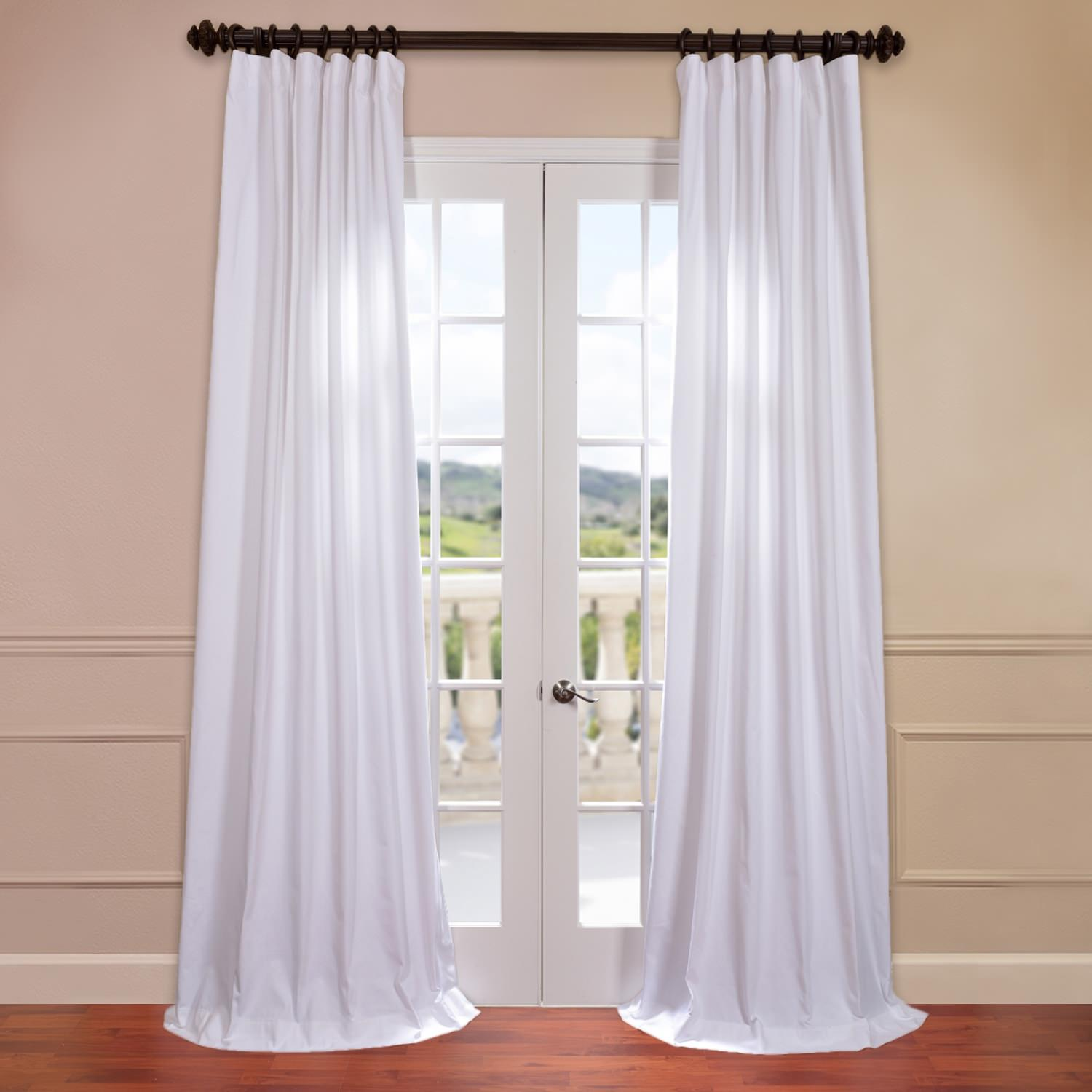 Bright White Cotton Twill Curtain