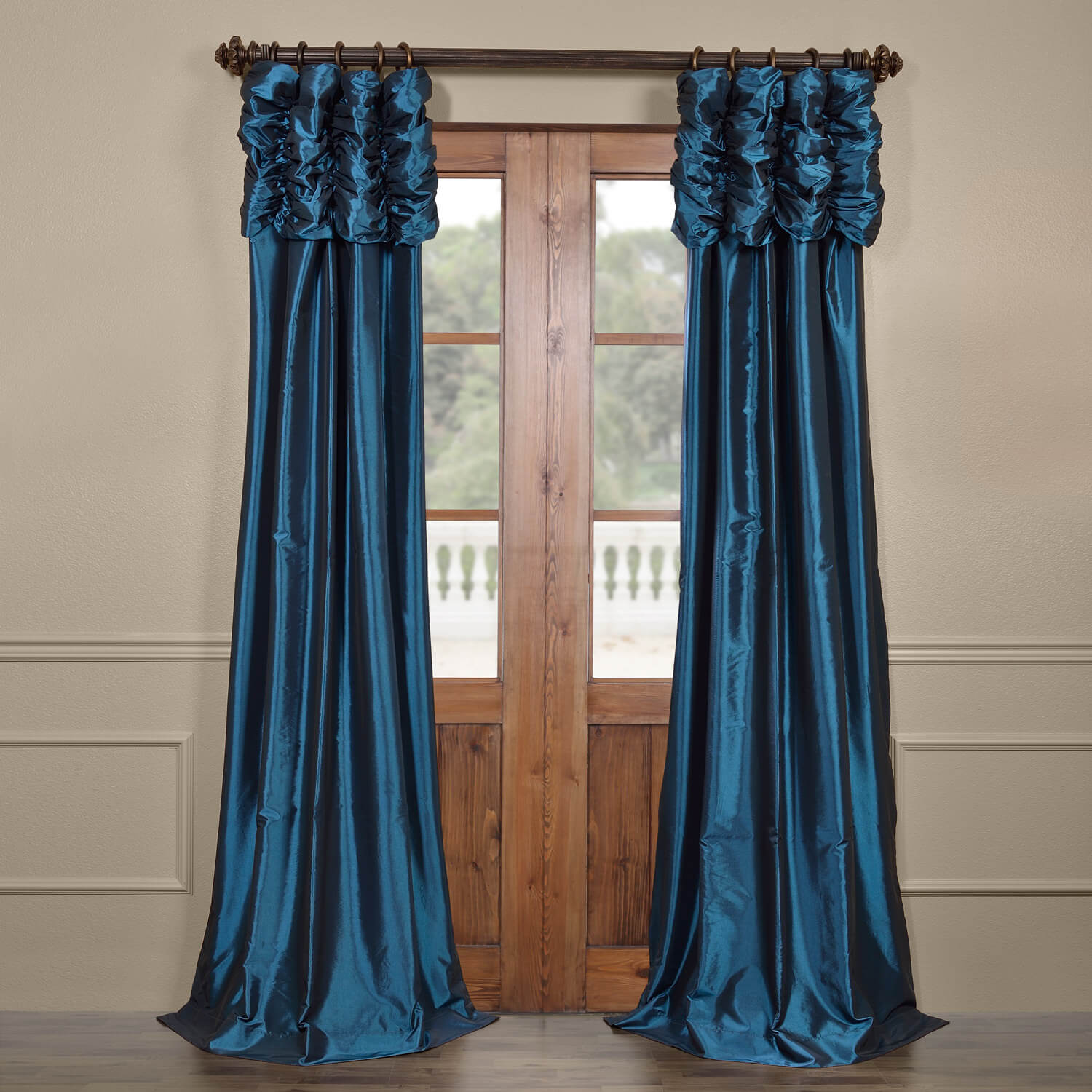 Azul Ruched Faux Solid Taffeta Curtain