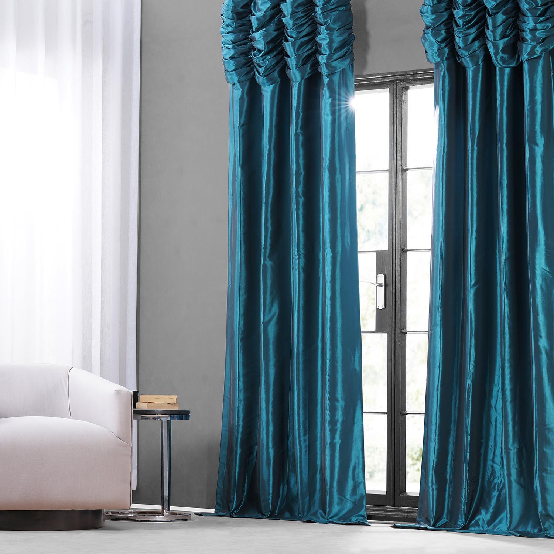 Mediterranean Ruched Faux Solid Taffeta Curtain