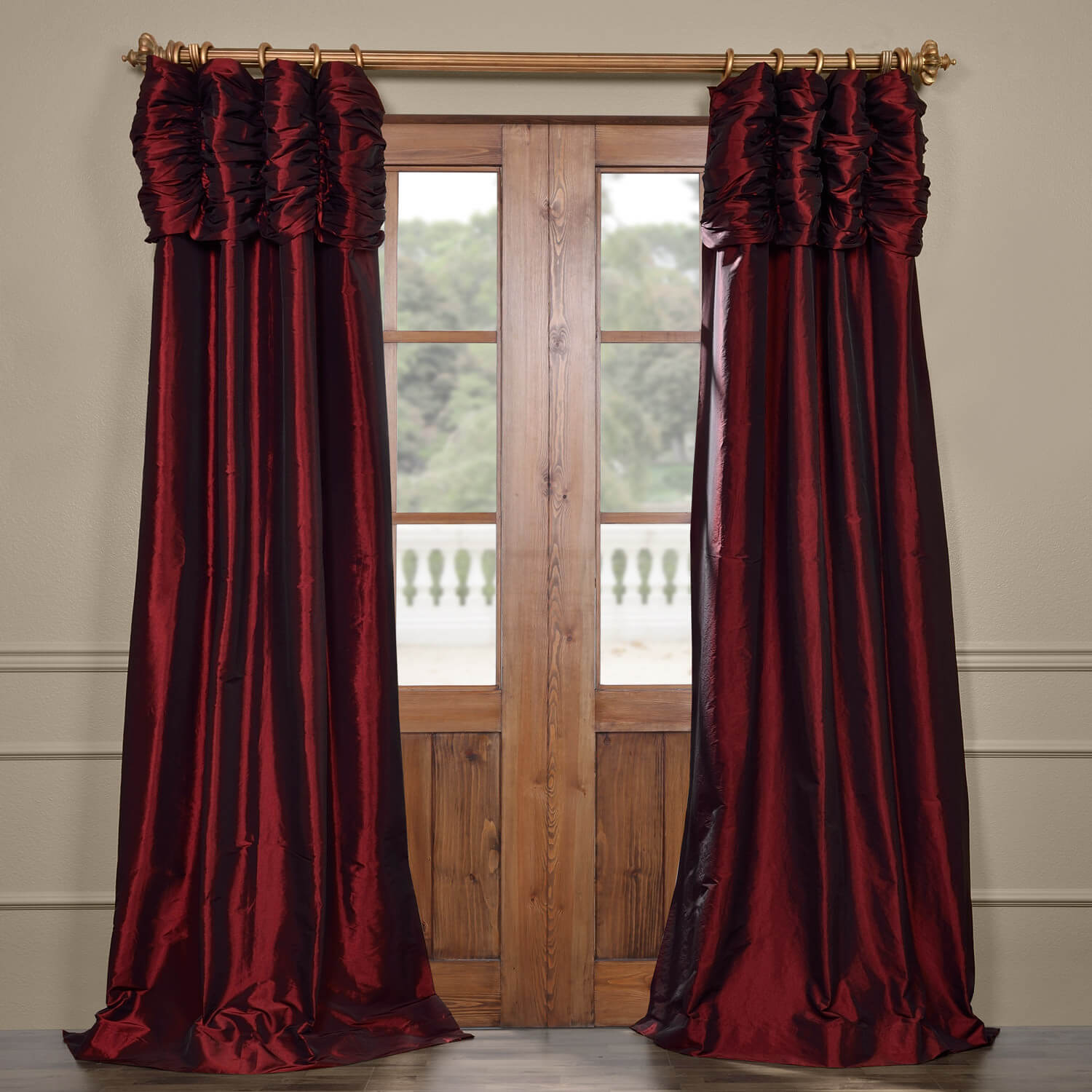 Syrah Ruched Faux Solid Taffeta Curtain