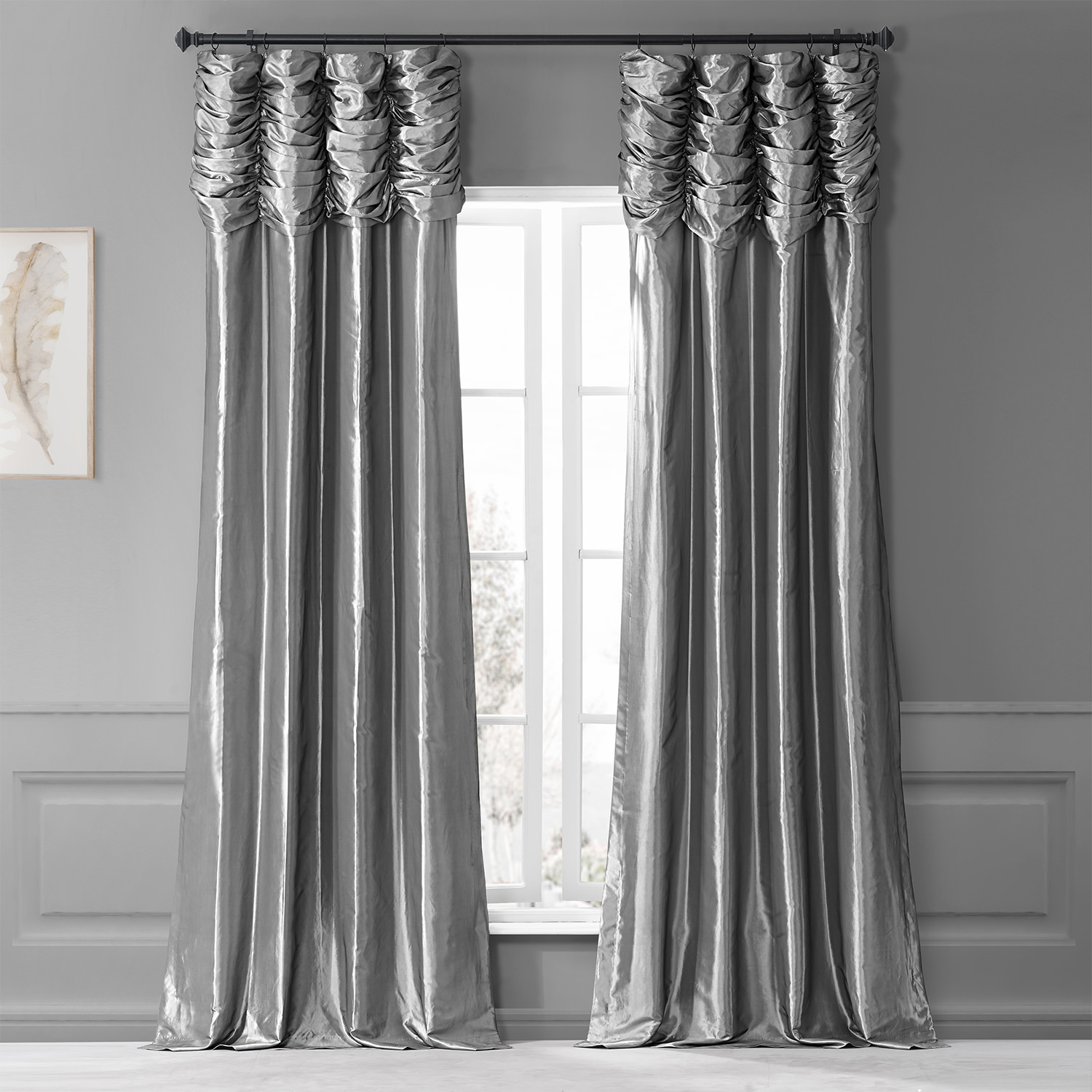 Platinum Ruched Faux Solid Taffeta Curtain