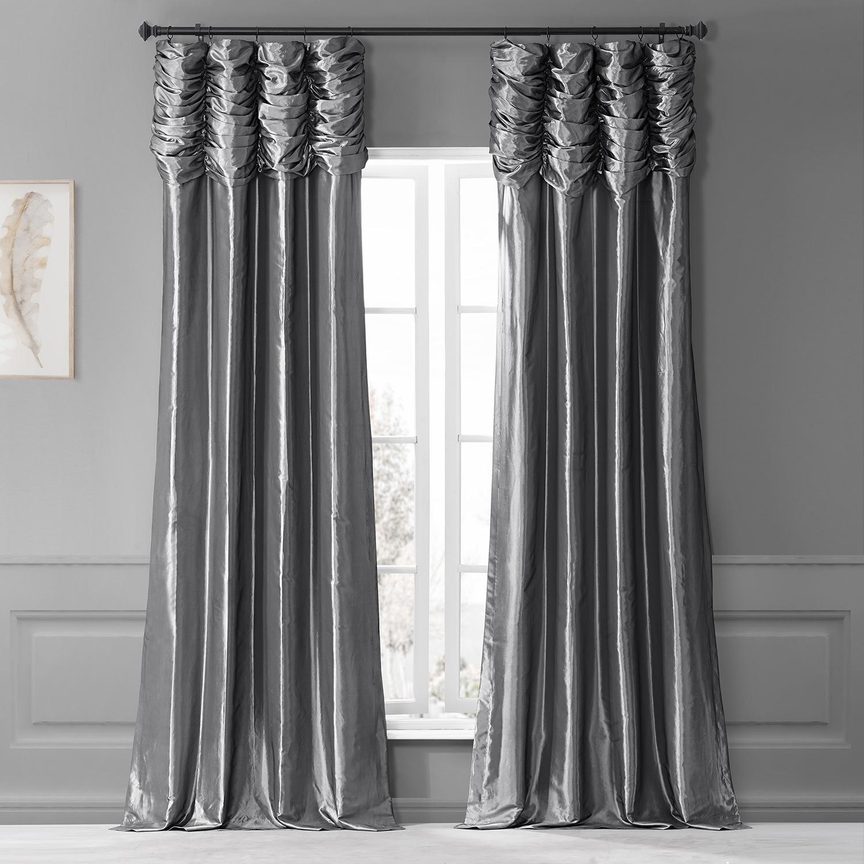 Platinum Ruched Faux Solid Taffeta Curtain