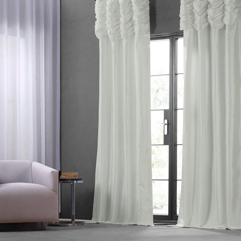 Eggshell Ruched Faux Solid Taffeta Curtain