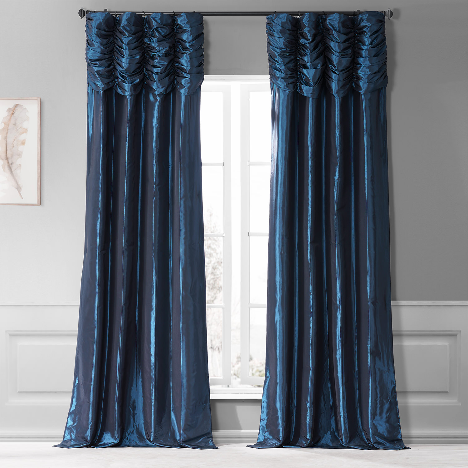 Navy Ruched Faux Solid Taffeta Curtain