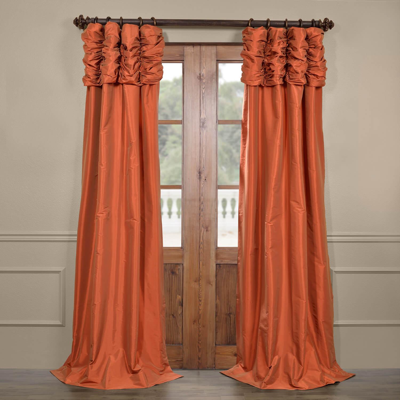 Harvest Orange Ruched Faux Solid Taffeta Curtain