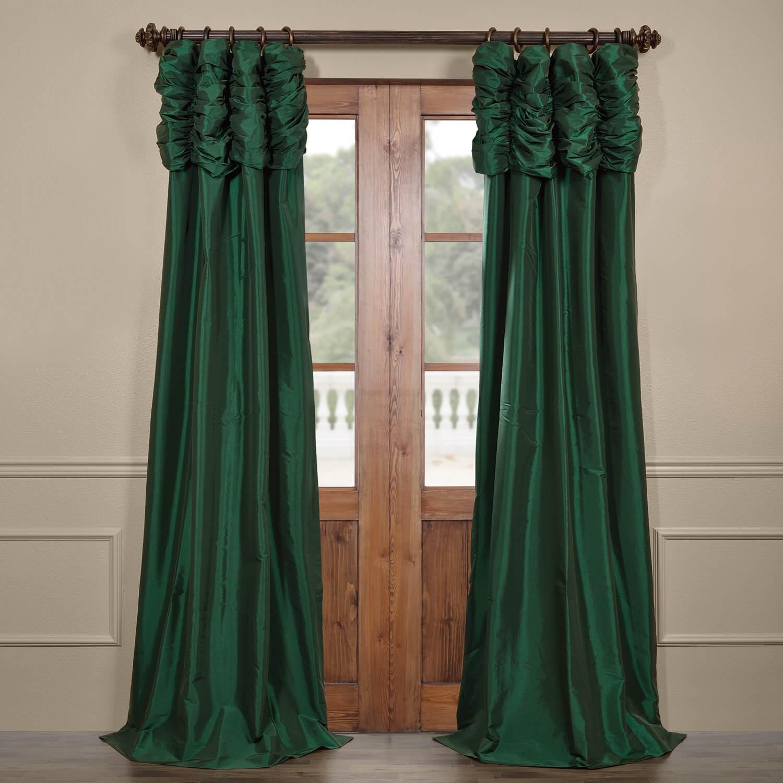 Emerald Green Ruched Faux Solid Taffeta Curtain