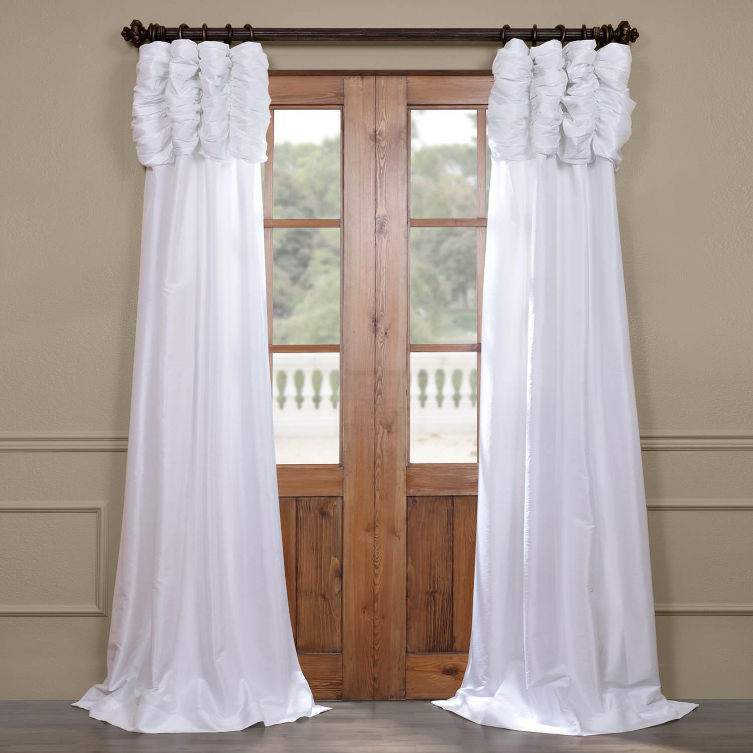 White Ruched Faux Solid Taffeta Curtain