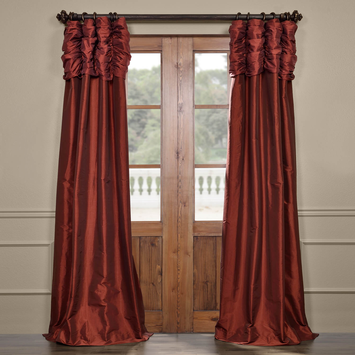 Paprika Ruched Faux Solid Taffeta Curtain