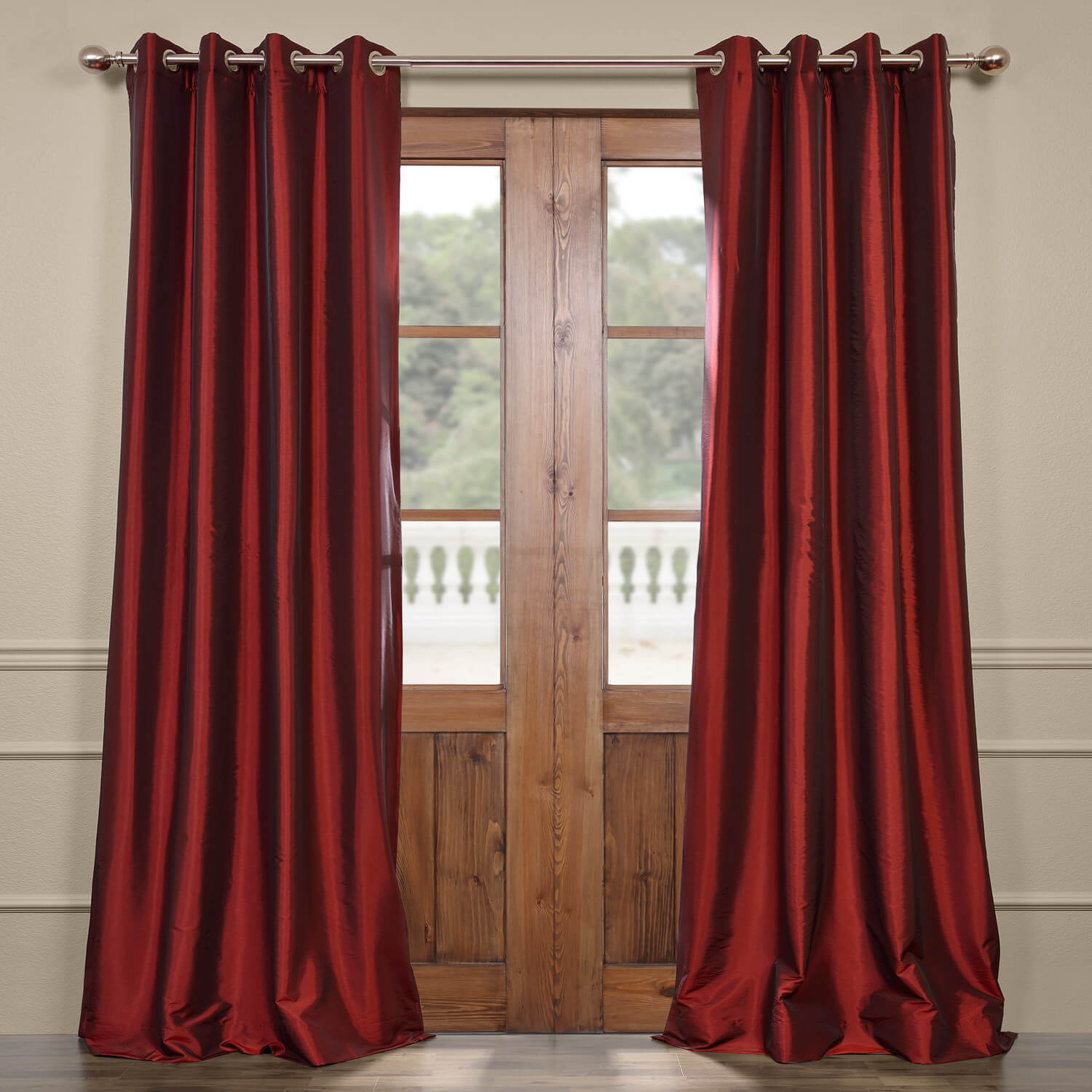 Syrah Grommet Blackout Faux Silk Taffeta Curtain