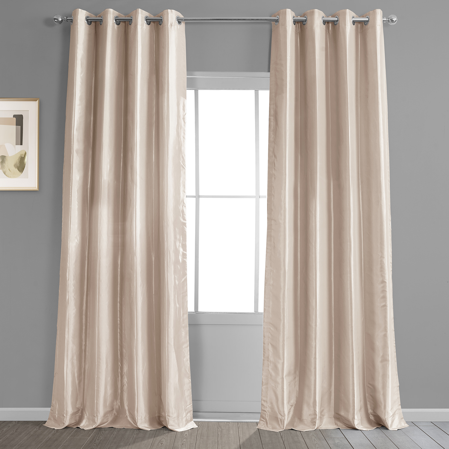Antique Beige Grommet Blackout Faux Silk Taffeta Curtain