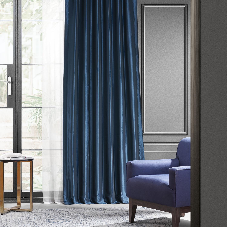 Navy Blue Blackout Faux Silk Taffeta Curtain