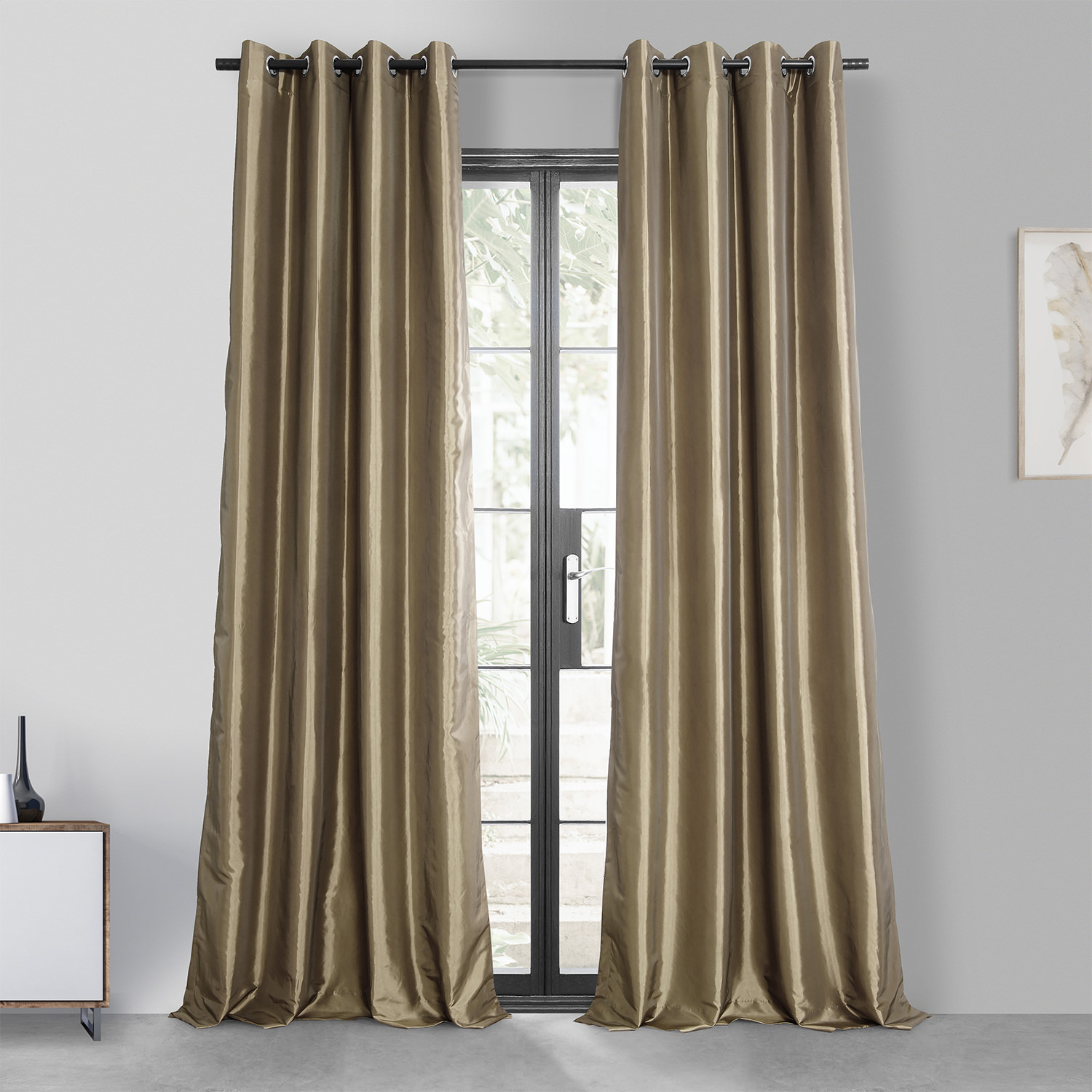 Gold Nugget Grommet Blackout Faux Silk Taffeta Curtain