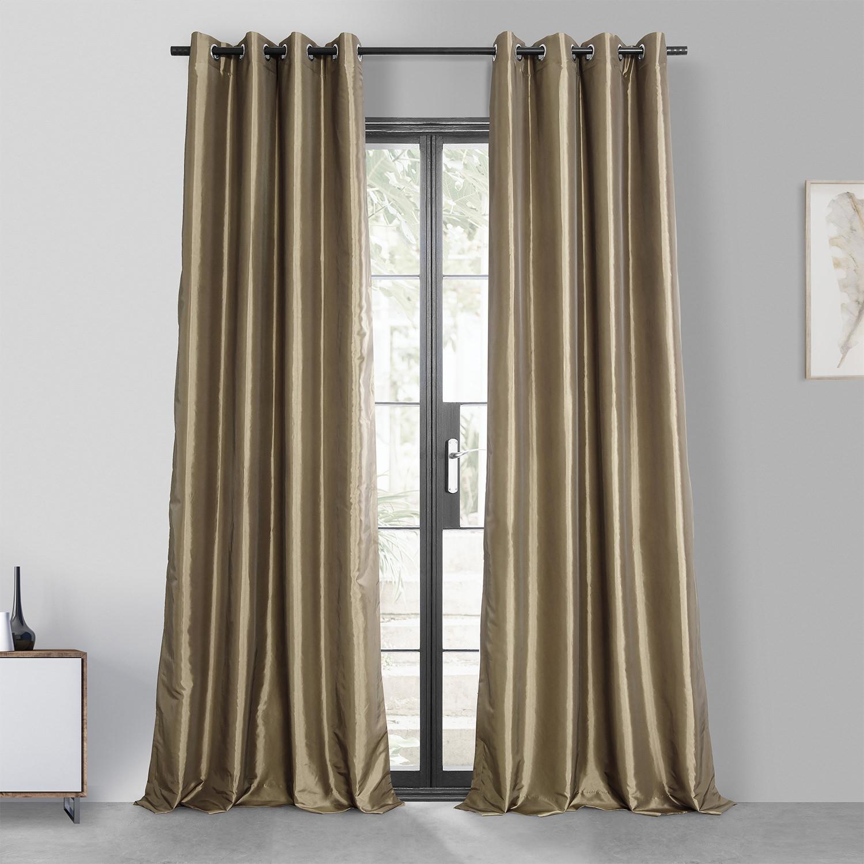 Gold Nugget Grommet Blackout Faux Silk Taffeta Curtain