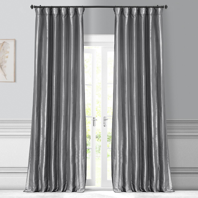 Platinum Faux Silk Taffeta Curtain