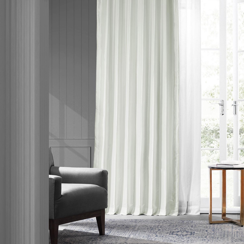 Eggshell Faux Silk Taffeta Curtain