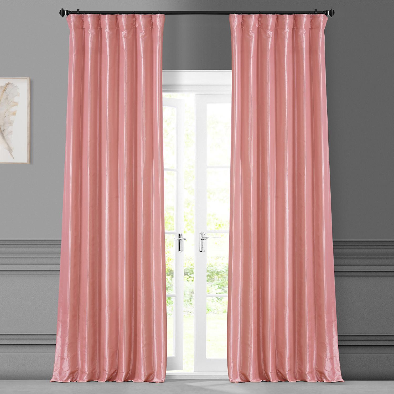 Flamingo Pink Faux Silk Taffeta Curtain
