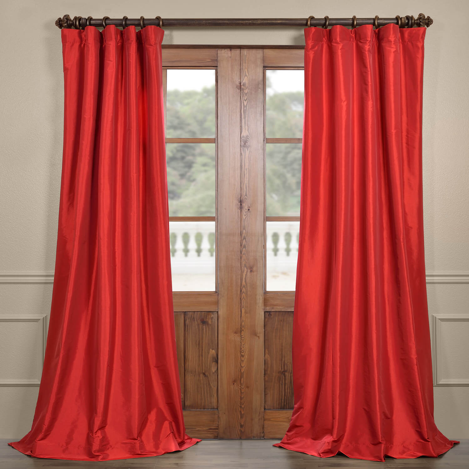 Hollywood Red Faux Silk Taffeta Curtain