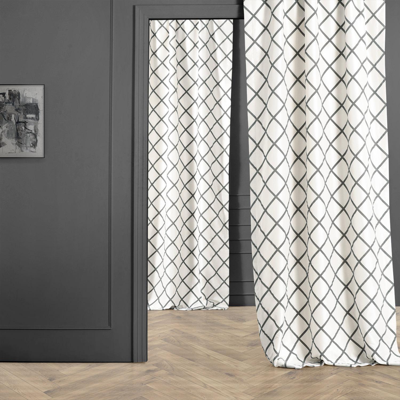 Pavillion Pearl Flocked Faux Silk Curtain