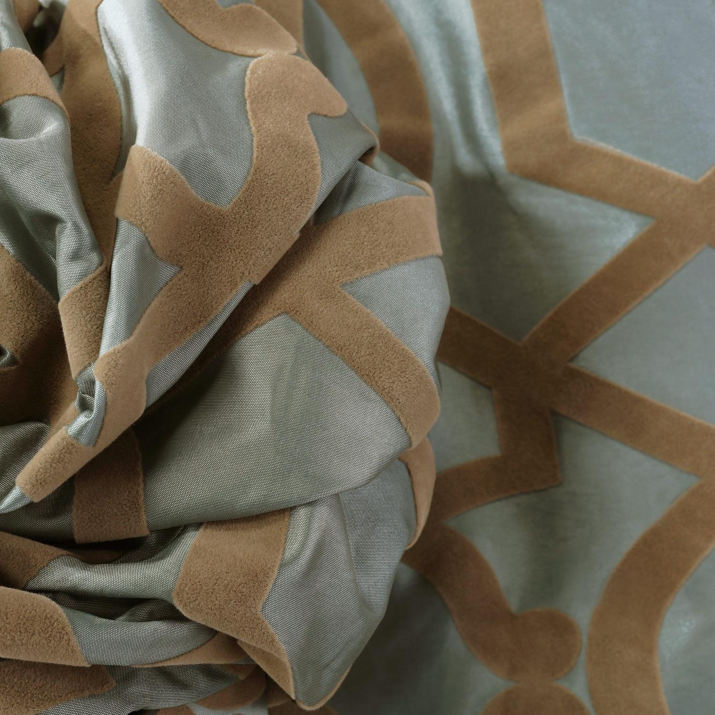 Filigree Blue Flocked Faux Silk Swatch