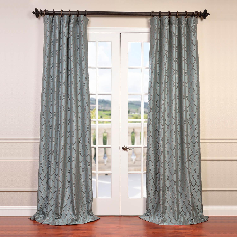 Meridian Slate Blue Flocked Faux Silk Taffeta Curtain