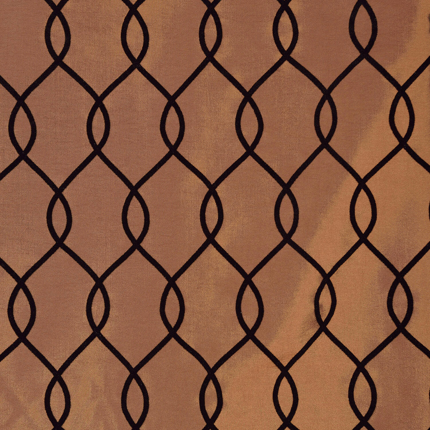 Meridian Copper Brown Flocked Faux Silk Taffeta Swatch
