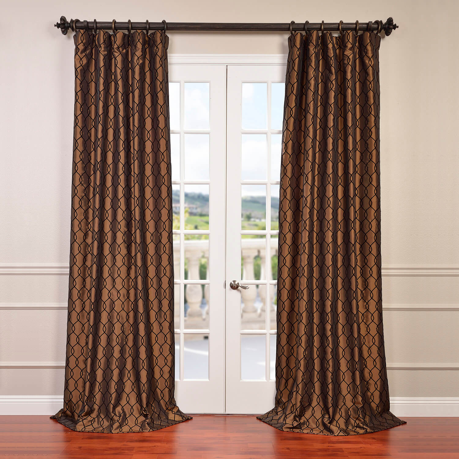 Meridian Copper Brown Flocked Faux Silk Curtain