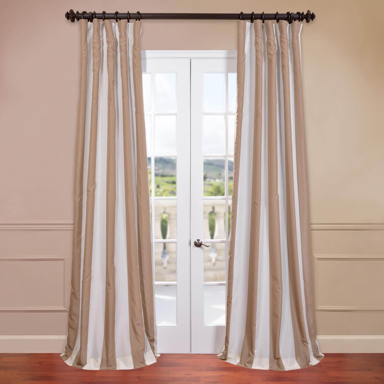 Creme Nougat Blackout Faux Silk Taffeta Stripe Curtain