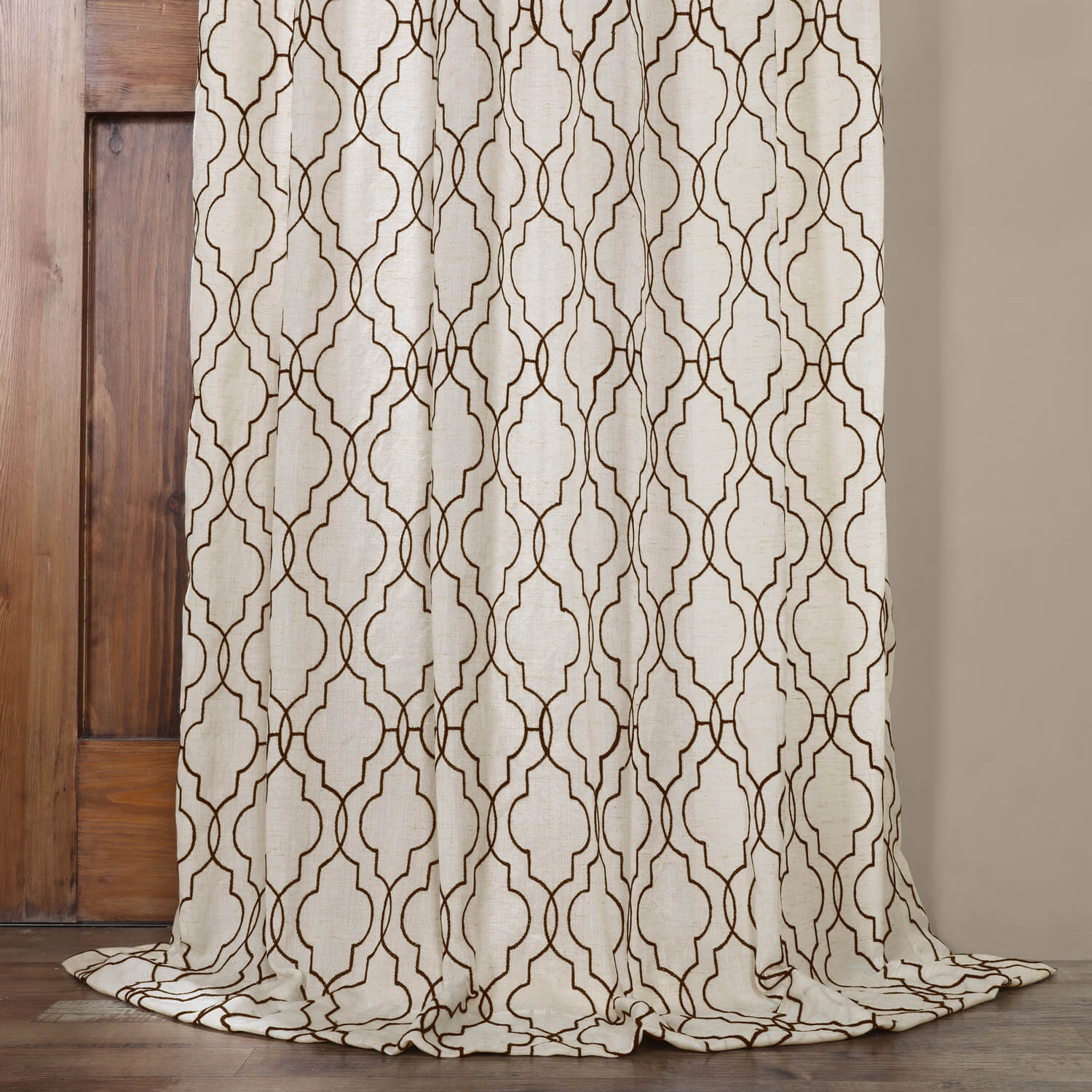 Saida Chocolate Embroidered Faux Linen Curtain