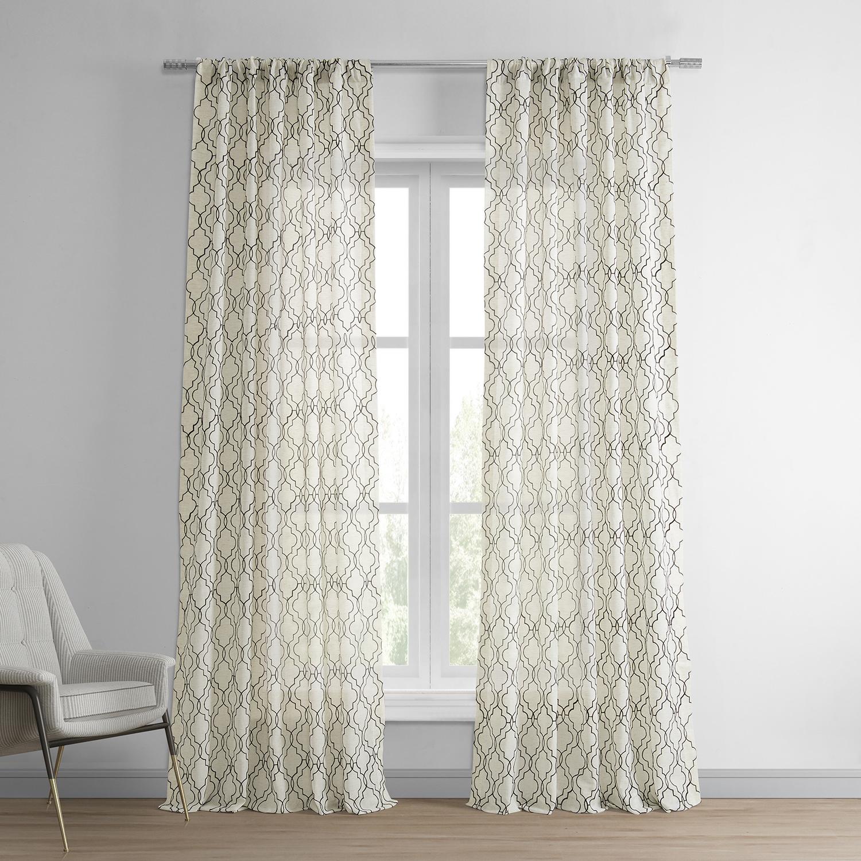 Saida Chocolate Embroidered Faux Linen Curtain