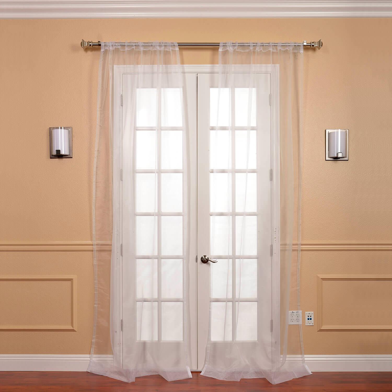 Pair (2 Panels) White Solid Faux Organza Sheer Curtain