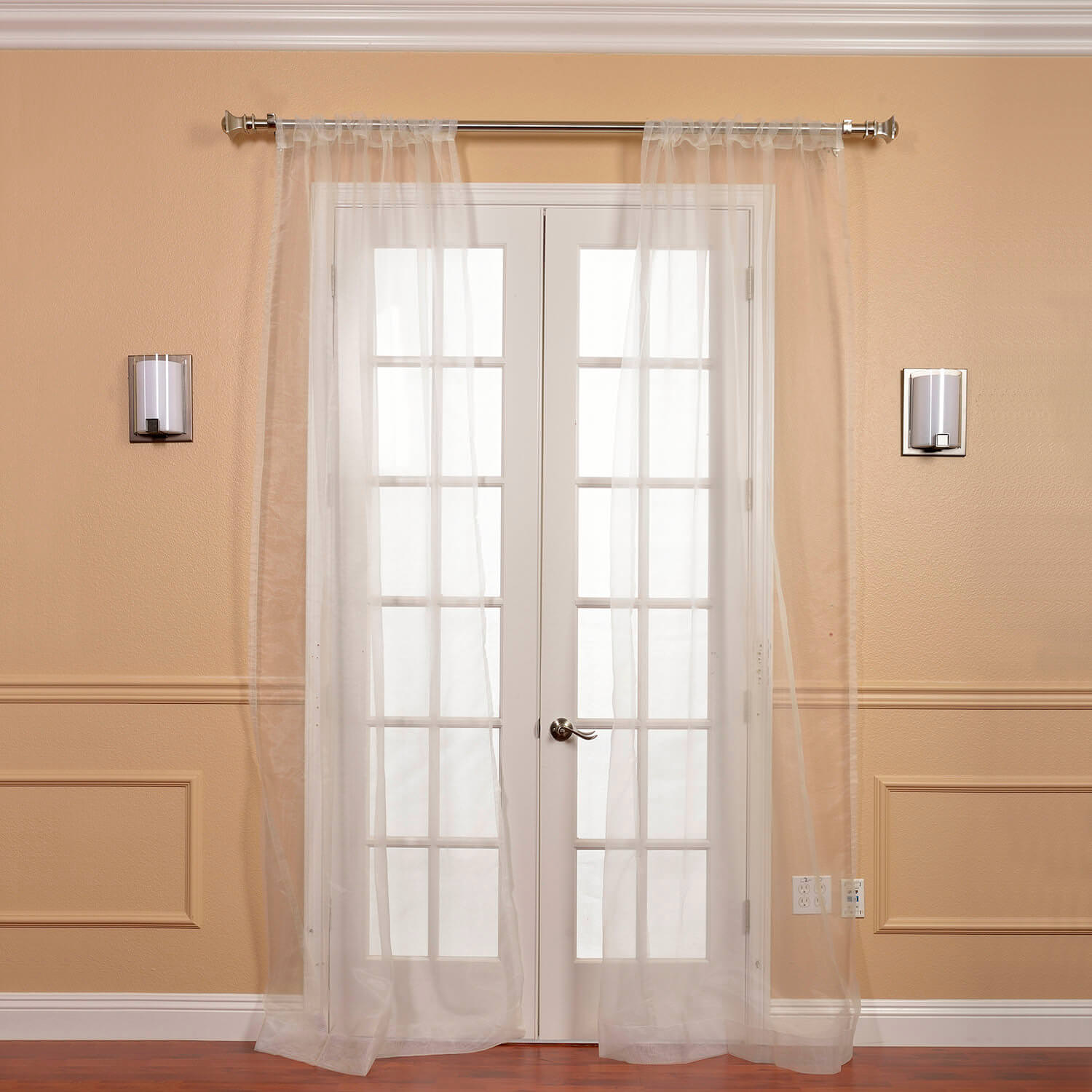 Pair (2 Panels) Off White Solid Faux Organza Sheer Curtain