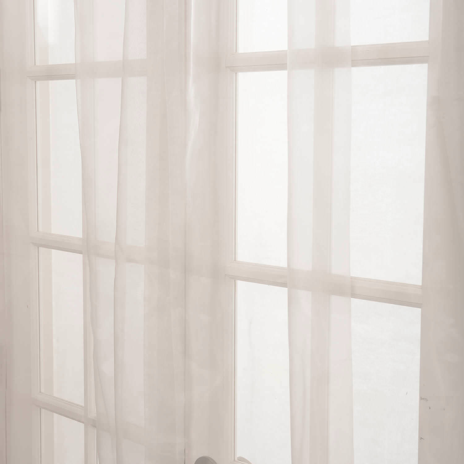 Off White Solid Faux Organza Sheer Swatch