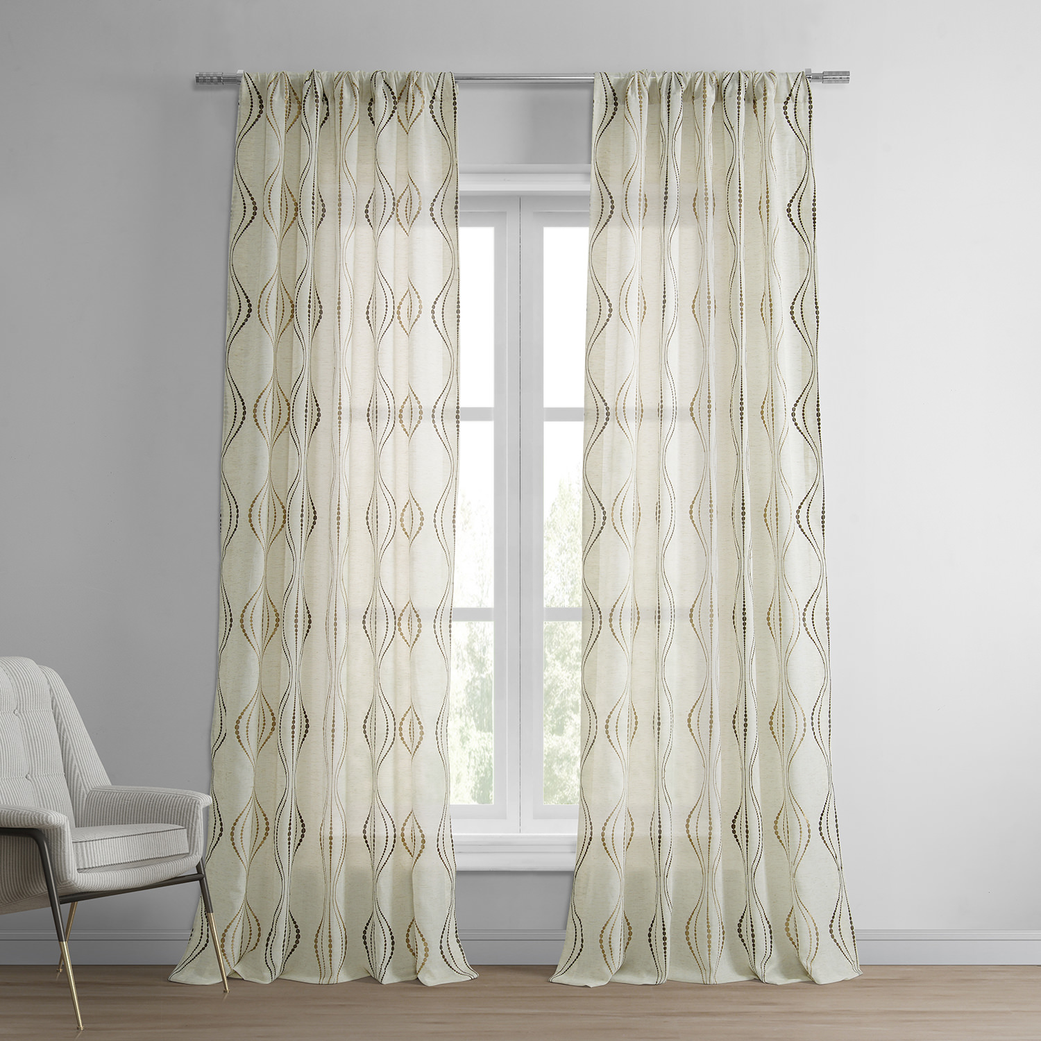 Suez Bronze Embroidered Faux Linen Sheer Curtain