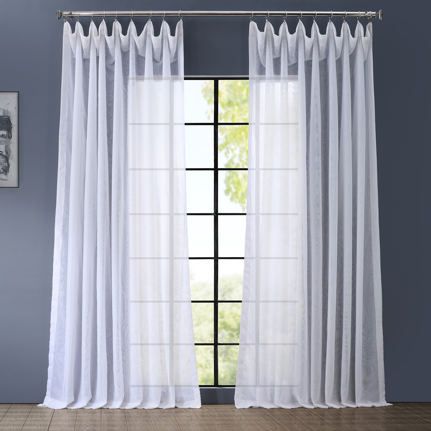 Signature  Double Layered & Double Wide White Sheer Curtain