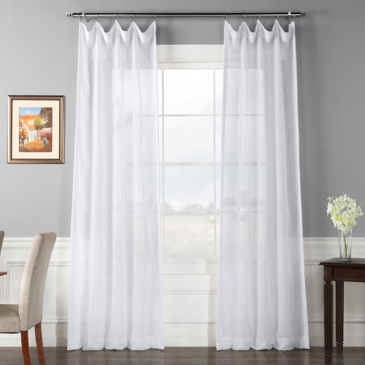 Signature Double Layered White Sheer Curtain