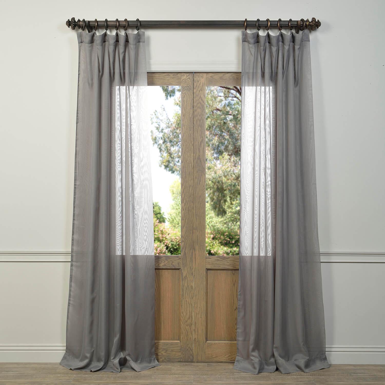 Signature Double Layered Grey Sheer Curtain
