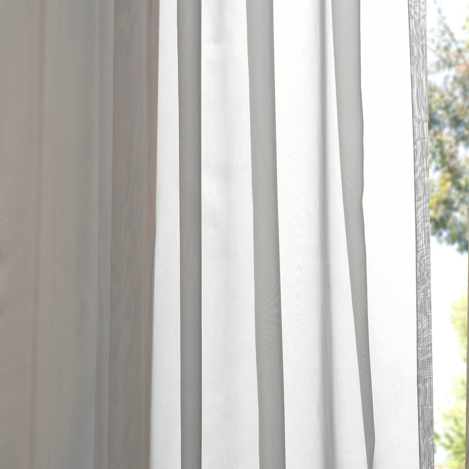 Solid Grey Voile Poly Sheer Swatch