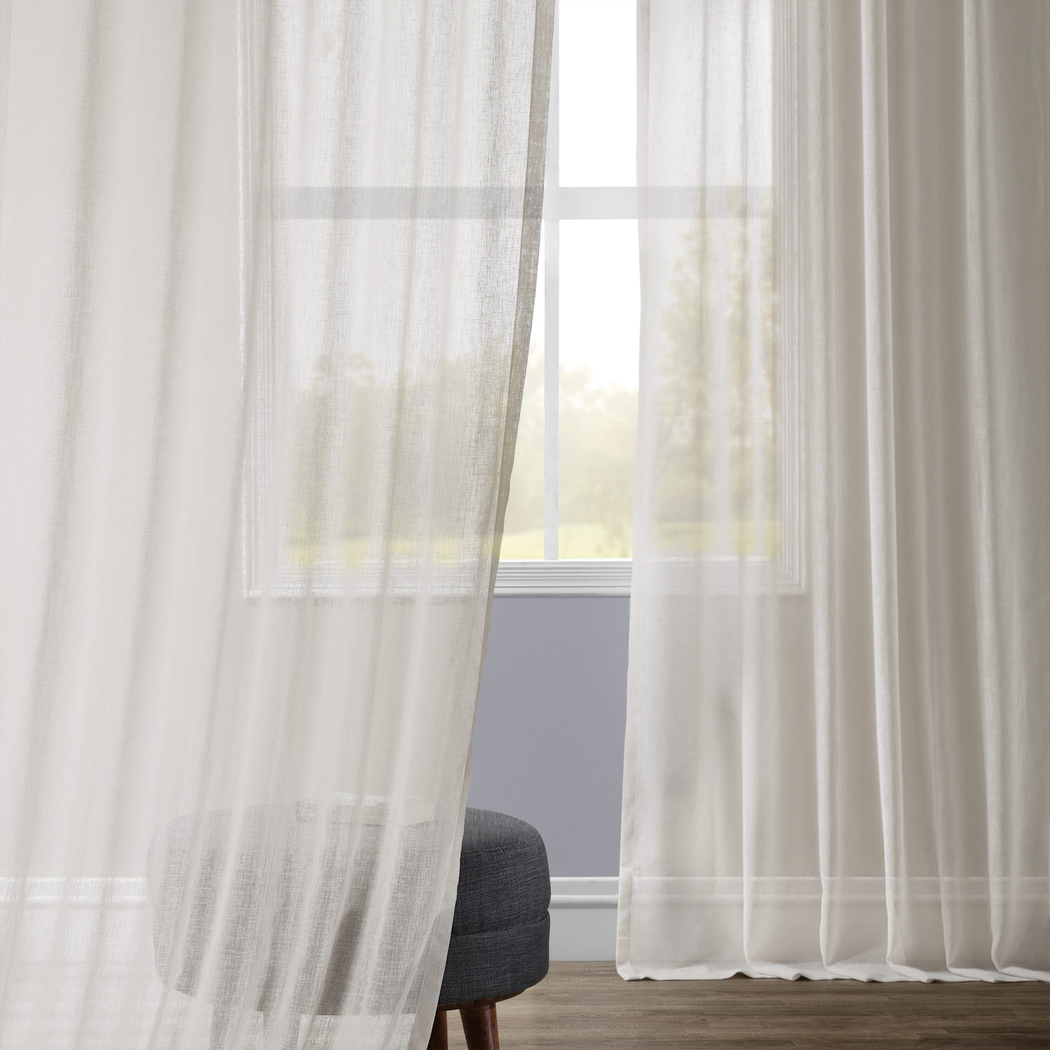 Gardenia Faux Linen Sheer Curtain